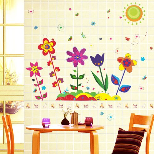 Colorful Flowers and Butterflies on a Sunny Day Wall Decals, Baby & Kids Zone