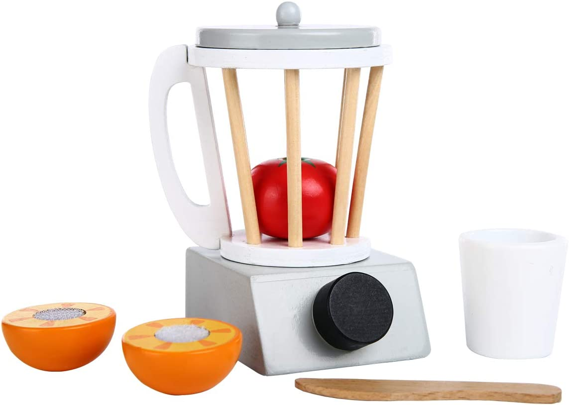 Spiekind Fruit Juicer Sets Kitchen Accessories Pretend Play Toys for Toddlers - Orange, Tomato, Removable lid and Base Cooking Sets for Kitchen Appliance