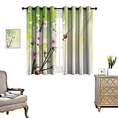 Ladybugs Window Curtain Drape Blooming Flowers in The Field and Ladybugs Japanese Leaf Petals Nature Graphic Decorative Curtains for Living Room W55 x L39 Green Pink