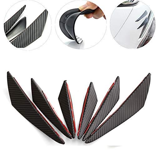 MAXTUF - Separadores de labios para parachoques delantero, 6 piezas de fibra de carbono estilo PVC con sello aletas alerones...