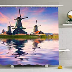 """Ahawoso Shower Curtain 60x72 Inches Nature Blue Dutch Authentic Zaandam Mills On Water Channel Windmill Parks Schans Zaanse Amsterdam Reflexion Waterproof Polyester Fabric Set With Hooks 60"""" W x 72"""" L/152x183cm can be used for bathtubs, showe..."""