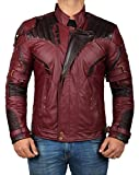 Infinity War Star Lord Gifts For him Mens Leather Motorcycle Jacket | PU Waxed Jacket, M