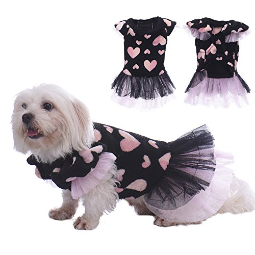 Black Coral Velvet Dress with Pink Heart Printed Princess Style Tutu Skirt Best Choice for lovely Pets Small Dogs Cats Puppy (Pink Velvet Princess Costume)