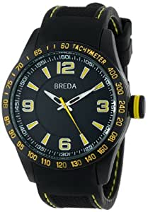 Breda Men's 9307-yellow Justin Rubber Yellow Accents Watch
