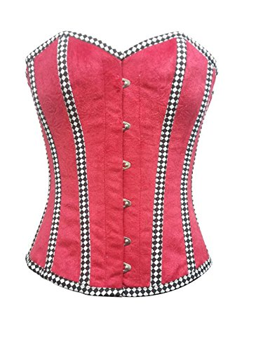 179b8adbdf Image Unavailable. Image not available for. Color  Red Velvet Check Stripes Gothic  Burlesque Waist Cincher Bustier Overbust Corset