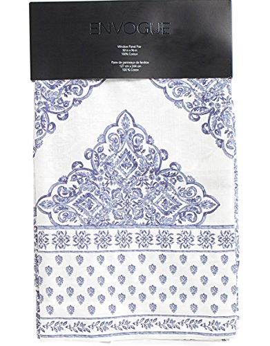 Envogue Window Curtains Paisley Damask Medallions Navy Blue White 50-by-96-inches Cotton Blend Set of 2 Window Panels Drapes