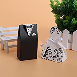 Bride And Groom - 100pcs Lots Bride And Groom Dresses Wedding Candy Box Gifts Favor Bonbonniere Diy Event Party - Jars Knife Party Cuts Plastic Shot Goblets Tumblers Novel Coozies