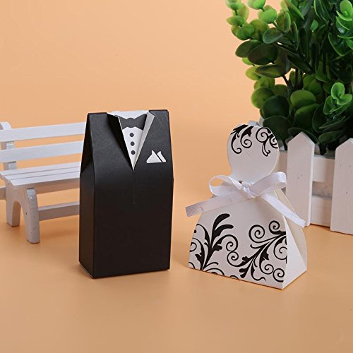 Bride And Groom - 100pcs Lots Bride And Groom Dresses Wedding Candy Box Gifts Favor Bonbonniere Diy Event Party - Jars Knife Party Cuts Plastic Shot Goblets Tumblers Novel (Wedding Dress Cookie Favor)