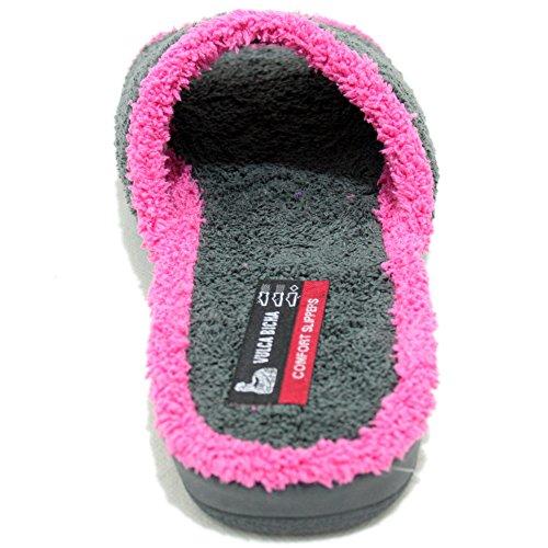 Vulcabicha 909 - Zapatillas de rizo abiertas para mujer en diferentes colores Gris