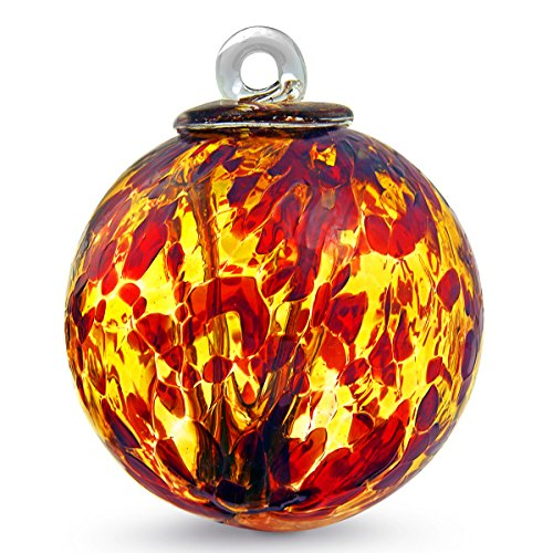 Witch Ball Garnet/Gold by Iron Art Glass Designs (4 Inch)