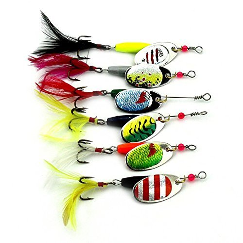 MELIP 6Pcs Fishing Lure Spinners Spoons Bait Ideal For Pike Trout Salmon