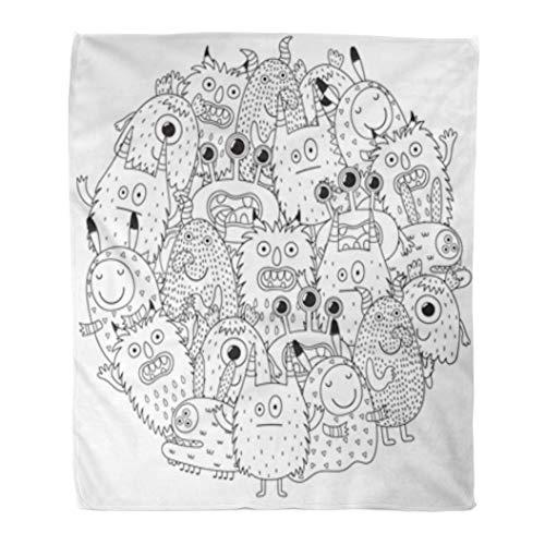 Golee Throw Blanket Halloween Funny Monsters Circle Shape