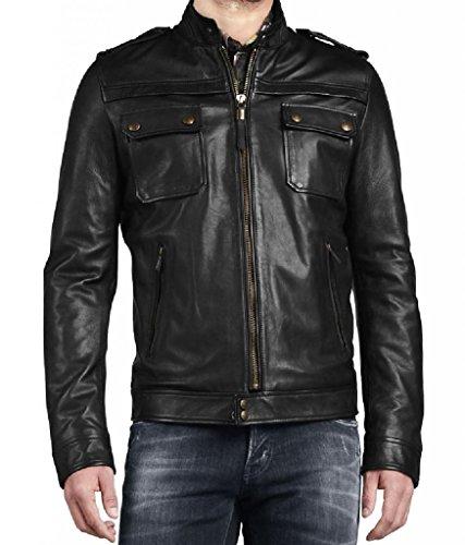 's Leather Biker Motorcycle Coat Slim Fit Outwear Jackets Double XL Black ()