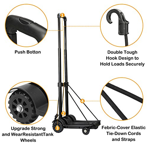 Folding Hand Truck Heavy Duty 155 lbs Loading Capacity 4 Wheel Solid Construction Compact and Lightweight Utility Cart for Luggage/Personal/Travel/Auto/Moving & Office Use Portable Fold Up Hand Cart by tomser (Image #3)