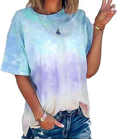 Mujer Verano 2020 Camisetas Top Tie-Dye Degradado de Color Cuello Redondo Ocio Suelto túnica Ropa de Mujer Barata Arco Iris Tamaño Grande S-5XL: Amazon.es: Ropa y accesorios