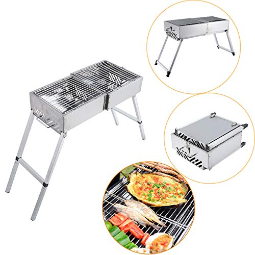 BEAMNOVA 32 Inch Charcoal BBQ Grill for Portable Barbeque Grill with Handle & Feet Extensions Foldable Stainless Steel Mesh for Outdoor Camping Vegetables Burgers Fish Shrimp Steaks