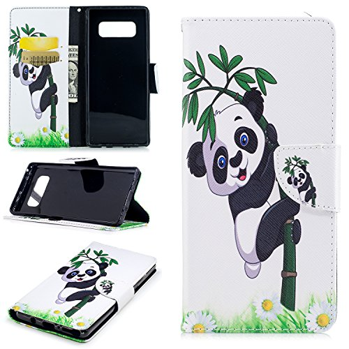 Cfrau Wallet Case with Black Stylus for Samsung Galaxy Note 8,Slim Colorful Print Magnetic Flip Soft Silicone Card Slots Stand Full Body PU Leather Case for Samsung Galaxy Note 8,Panda Bamboo