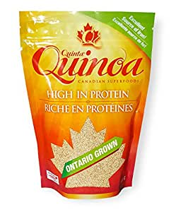 Quinoa Gluten free, Quinta Quinoa, White Quinoa Vegan Foods; 100% Grown as Canadian Quinoa that supports a healthy vegan and gluten free diet; high in fibre, high in zinc and a source of calcium (400g)