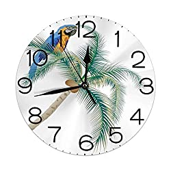 GULTMEE Silent Wall Clock Non Ticking 10 inch Quartz Round Decorative, Big Parrot Sitting on Coconut Palm Tree Talkative Character of Exotic Design