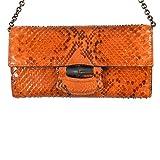 Gucci Womens Orange Python Skin Clutch Handbag Shoulder Bag