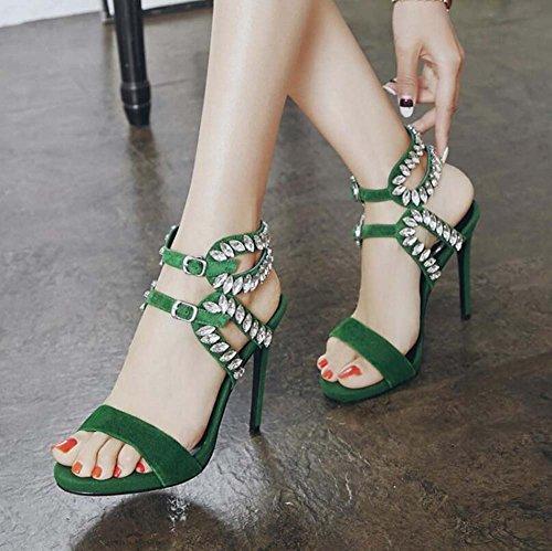 Alto De Boca Pie Zapatos Pez Diamantes Con Hebilla Verde Cuero Tacón Verano Piedras Sandalias Imitación Anillo Mujer Fino zx6YwqSd