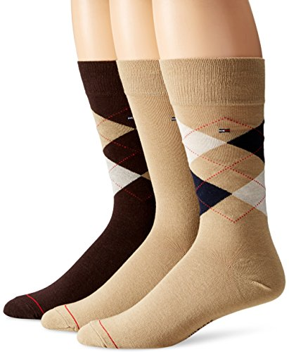 Tommy Hilfiger Men's 4 Pack Argyle Crew Socks, Khaki, (Mens Tommy Hilfiger Khaki)