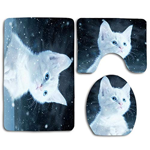 (EnmindonglJHO Cat Kitty Snow Art White Bathroom Rug Mats Set 3 Piece Toilet Carpet Rugs Includes Contour Mat and Lid Cover, Non Slip Mats for Tub Shower)