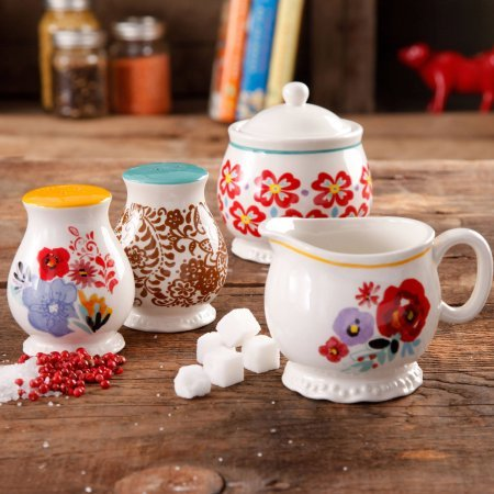 The Pioneer Woman Flea Market Decorated Sugar and Creamer with Salt and Pepper Shakers ()