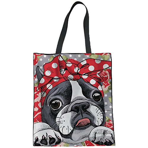 (Coloranimal Linen Tote Bag for Women Cute Boston Terrier Pattern Eco Friendly Shopping Bags Gym Sports Outdoor Beach Shoulder Pouch Machine Washable Big Capacity Satchel)