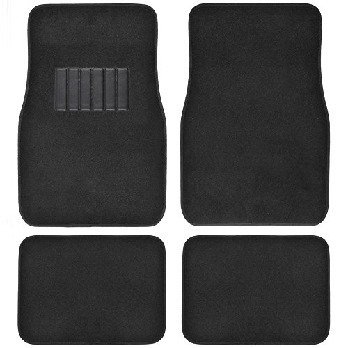 - BDK MT-100-BK Classic Carpet Floor Mats for Car & Auto - Universal Fit -Front & Rear with  Heelpad (Black)