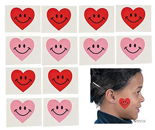 72 Valentine Smiley Heart Party Favor TATTOOS - Valentine's Day - Classroom TEACHER Rewards -