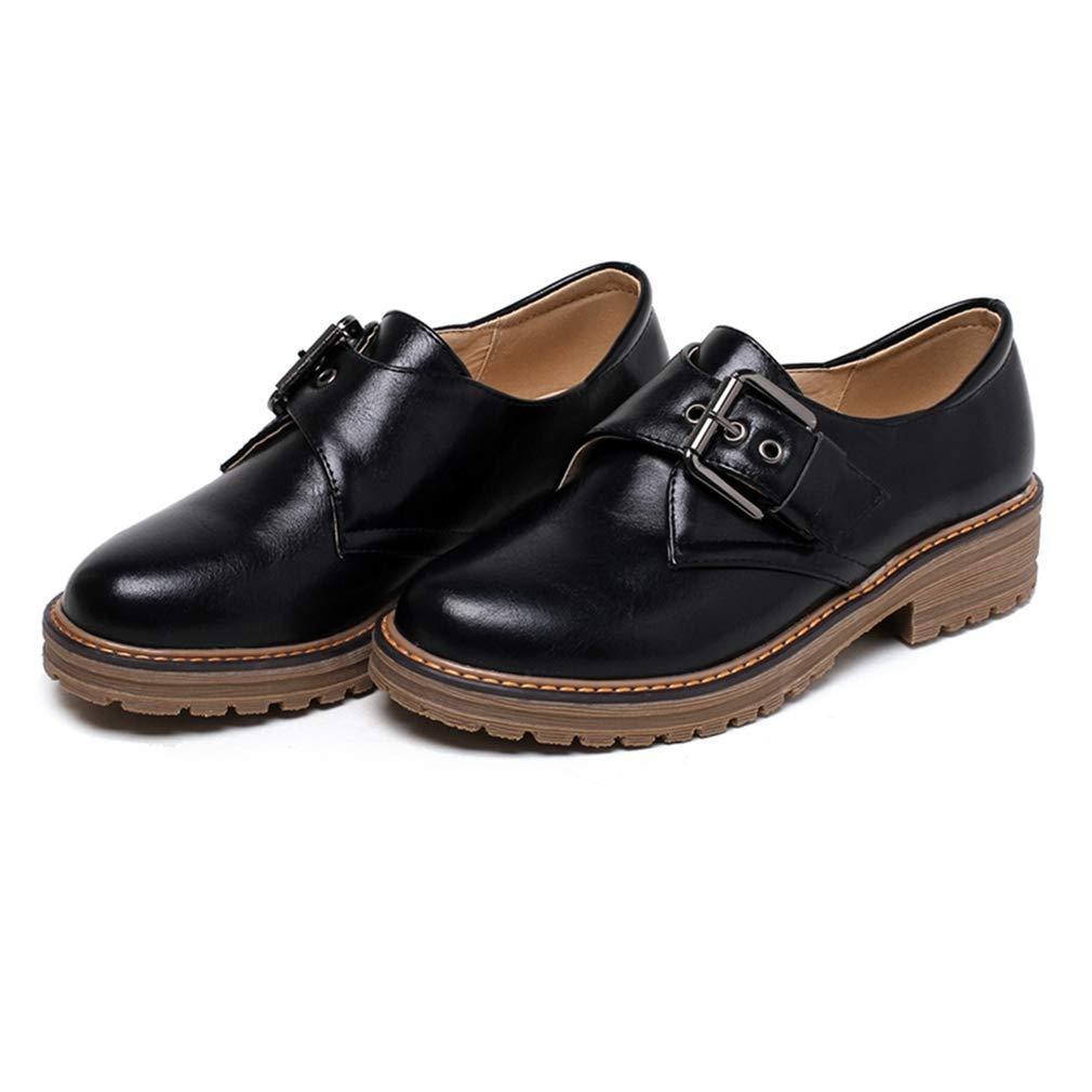 Black Elsa Wilcox Women Round Toe Buckle Low Heel Retro Comfortable Dress Oxfords shoes Vintage Slip On Oxford shoes