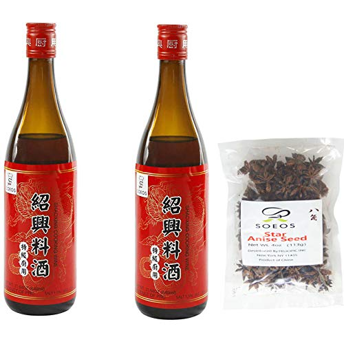 Soeos Cooking Rice Wine (2 Bottles) + Chinese Star Anise (4 oz)