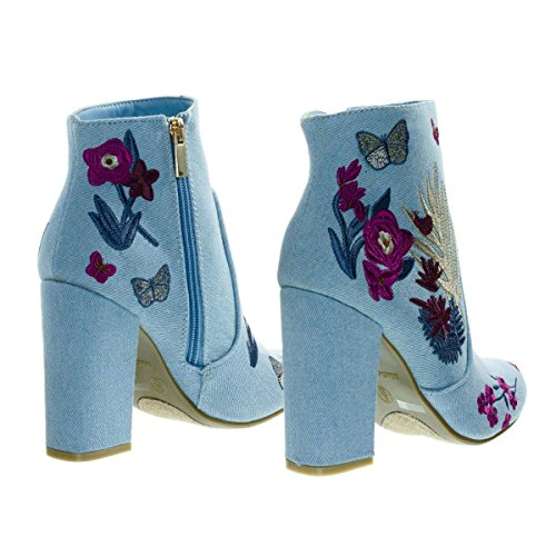 Ankle Embroidery Heel Embossed Lining Bootie Block amp; Denim Fur Faux w Blue qSwwBI