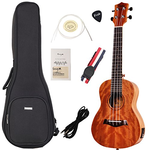 ENYA KUT-25DEQ Tenor Electric Ukulele Bundle with Gig Bag,Spare Aquila Strings Tuner (Mahogany Top)