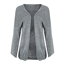 Winter Women Cardigan Sweaters Long Sleeve Sweater Solid Knitted Jumpers Sweter Gray L C