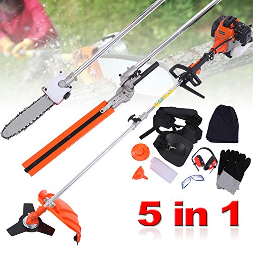 PanelTech 5 in 1 52CC Brush Cutter Hedge Trimmer Pruning Chainsaw Grass Trimmer and Extension Pole by PanelTech