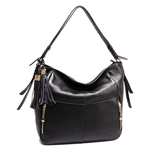 Geya Women's Fashion Genuine Leather Handbag Shoulder Handbag with Imported Soft Hot Leather (Black) by Geya (Image #8)