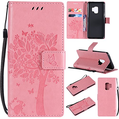 HAOTP Galaxy S9 Wallet Case, Floral Flower Love Tree & Cat Embossed PU Leather Magnetic Flip Shockproof TPU Inner Bumper Card Holders & Hand Strap Wallet Purse Case for Samsung Galaxy S9 Pink