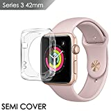 Apple watch series 3 screen protector 42mm, IOVECT iwatch 3 Case TPU SEMI-Around 0.3mm Ultra-Slim Soft High Transparency Scratch-Resistant Cover for New Apple Watch 3 Series(2017)