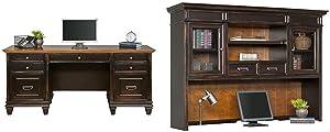 Martin Furniture Hartford Credenza, Brown - Fully Assembled & Hartford Hutch, Brown - Fully Assembled
