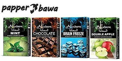 papper bawa Alsuhana Mint + Chocolate + Brain Freeze + Double Apple Combo Premium Quality Assorted Herbal Hookah Flavour/Molasses Flavours
