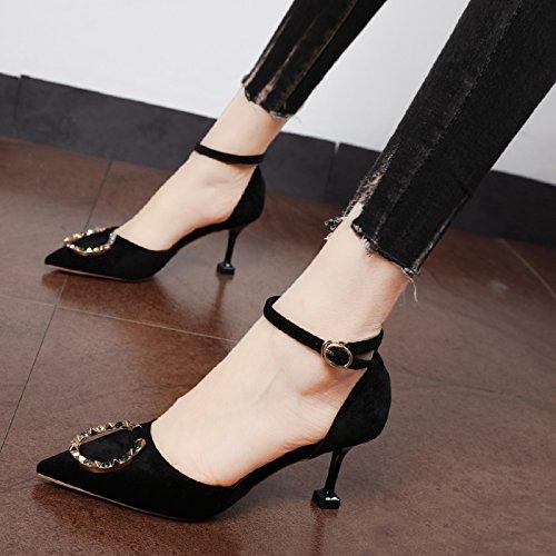 Xue Qiqi Court Schuhe Antique Gold velvet geschlitzten Riegel Punkt Licht - einzelne Schuhe fein mit farbigen Diamanten Kreis für den high-heel Schuhe