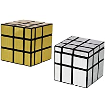 2 Pack Shengshou 3x3x3 Square Mirror Speed Cube Puzzle Golden & Silver
