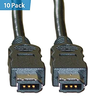 10 Pack - Firewire 400 6 Pin cable, IEEE-1394a, 3 foot - Hi-Speed Clear male bilingual mac DV iLink adapter