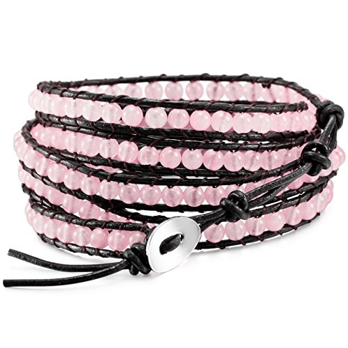 - MOWOM Pink Alloy Genuine Leather Bracelet Bangle Cuff Rope Simulated Crystal Bead 5 Wrap Adjustable