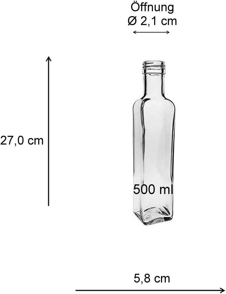 Imbuto del Diametro di 9,5 cm Incluso capacit/à 500 ml 6 bottigliette con Chiusura a Vite Viva Haushaltswaren