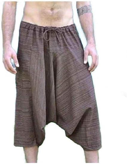 Kankanluck Men's Ethnic Style 3/4 Pants Hiphop Dance Elastic Waist Wide Leg Pants