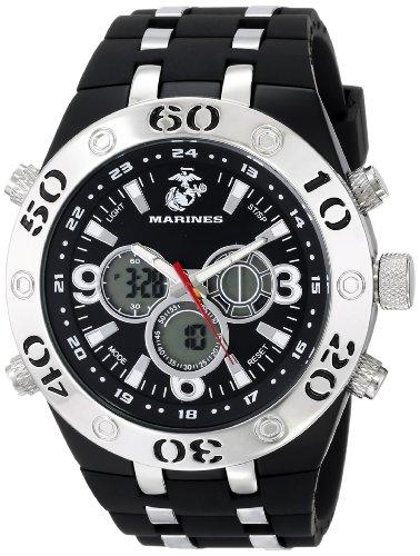 Wrist Armor Mens 37100007 C23 Analog-Digital Display Quartz Watch with Black Rubber Strap