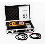Amgaze Digital Ultrasonic Thickness Meter Tester Gauge Velocity 1.2~225mm Metal Wave Four Digit LCD Display 12 Months Warranty (Batteries Included)